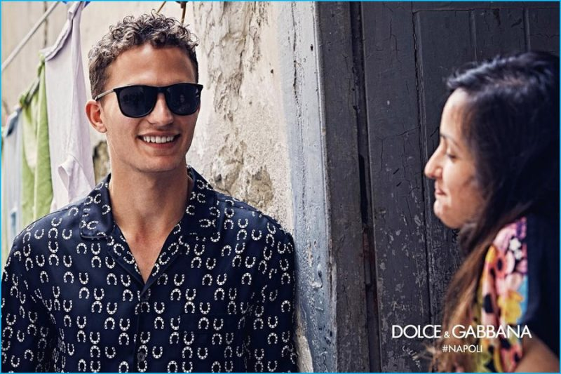 ff167dcbf70b Nathaniel Visser is all smiles for Dolce   Gabbana s fall-winter 2016  eyewear campaign.
