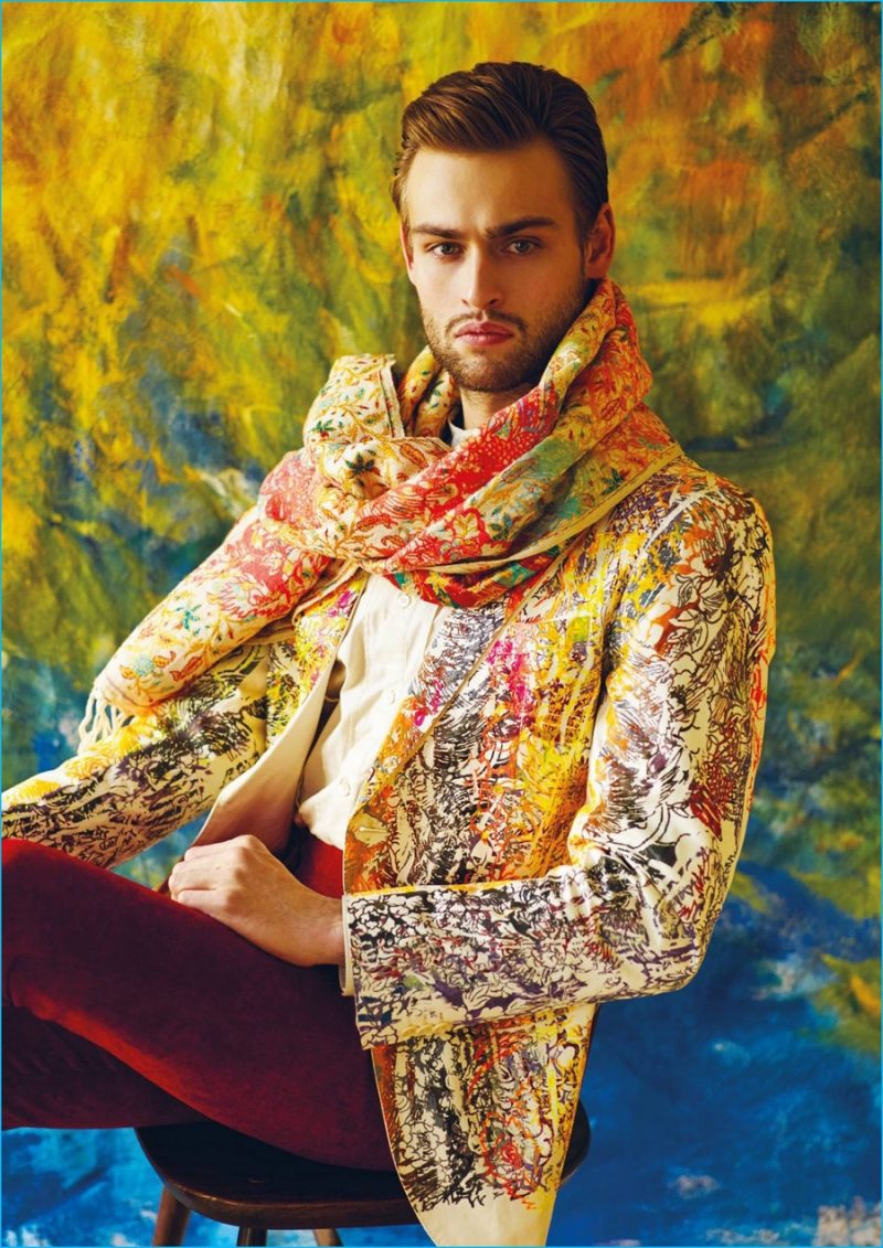 Douglas Booth channels his inner poet in an intricate patterned jacket from Ziad Ghanem.