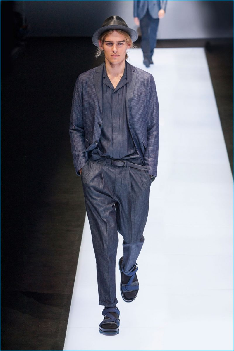 Emporio Armani has an indigo moment with relaxed proportions for spring-summer  2017. 442ea7b053