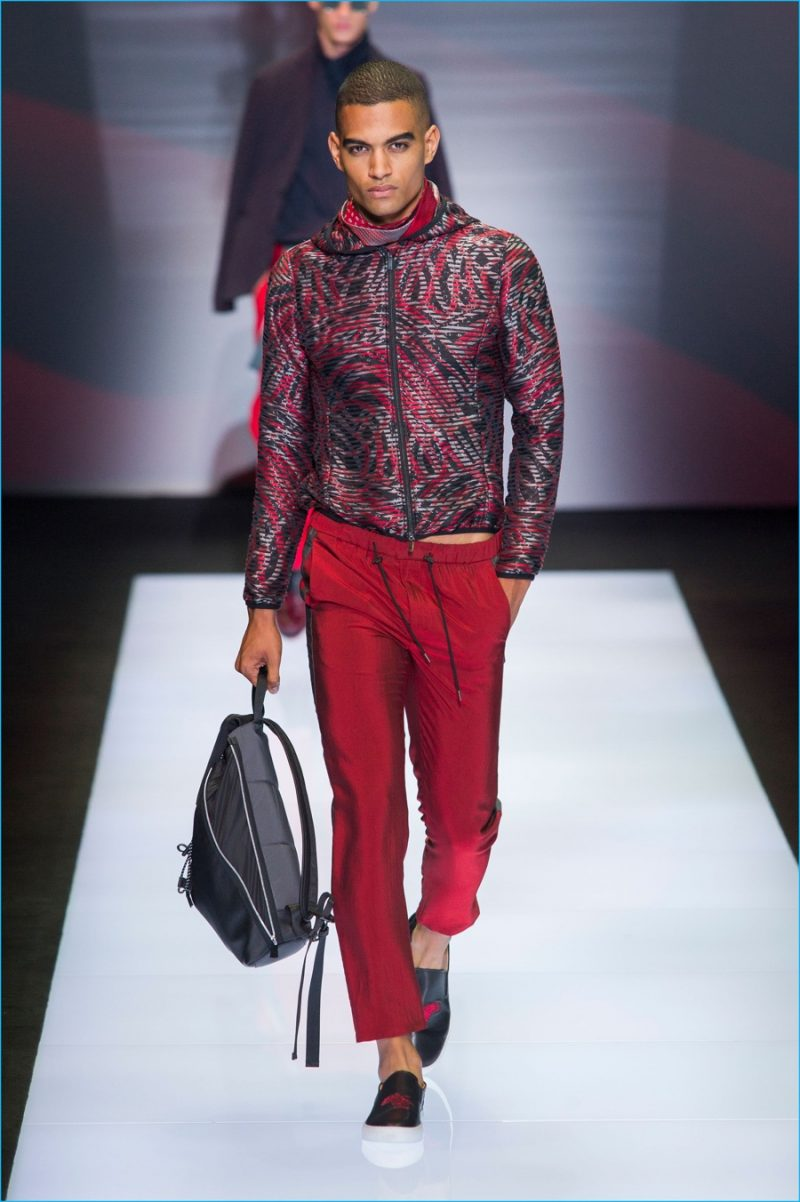 Emporio-Armani-2017-Spring-Summer-Mens-Runway-Collection-. Emporio Armani  adds color to its sporty lineup with a bold red for the season. 2eab45dad3
