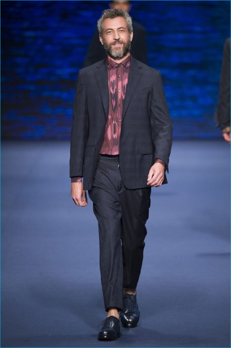 Etro proposes modest suiting, dressed up with a lively patterned dress shirt.