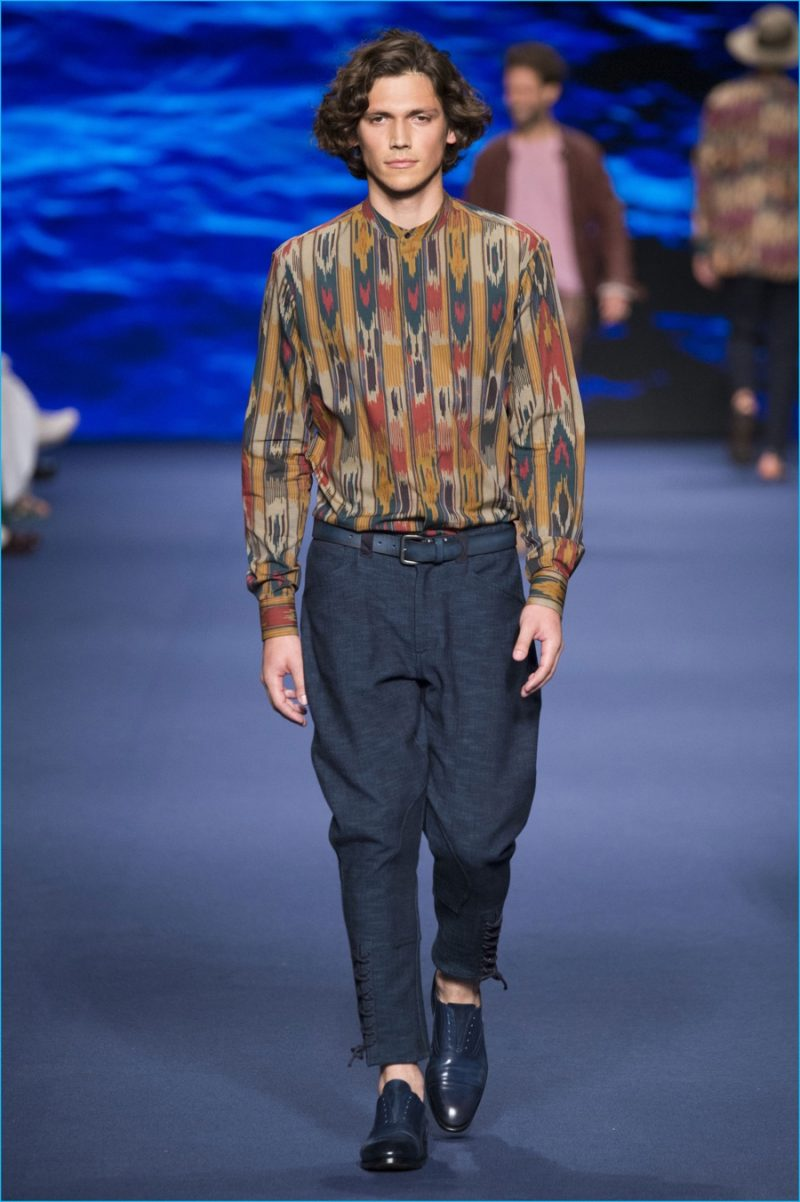 Etro applies one of the season's prints to a timely collar band shirt.