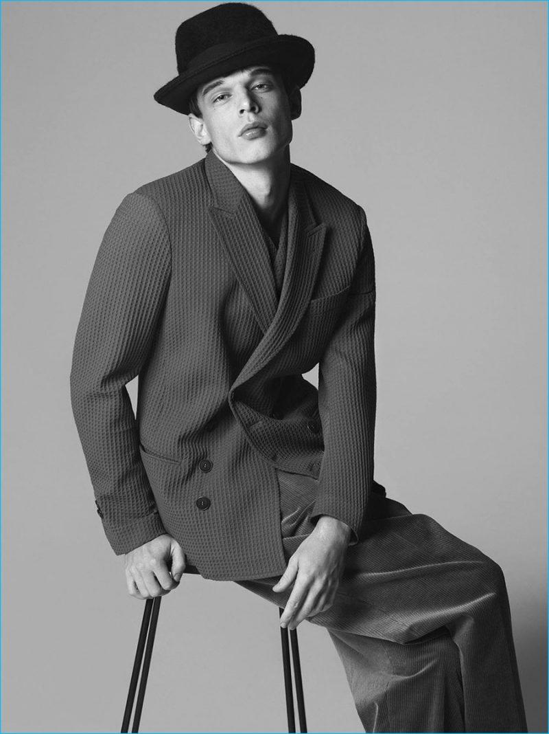 André Bona sits for an elegant portrait for Giorgio Armani's fall-winter 2016 campaign.