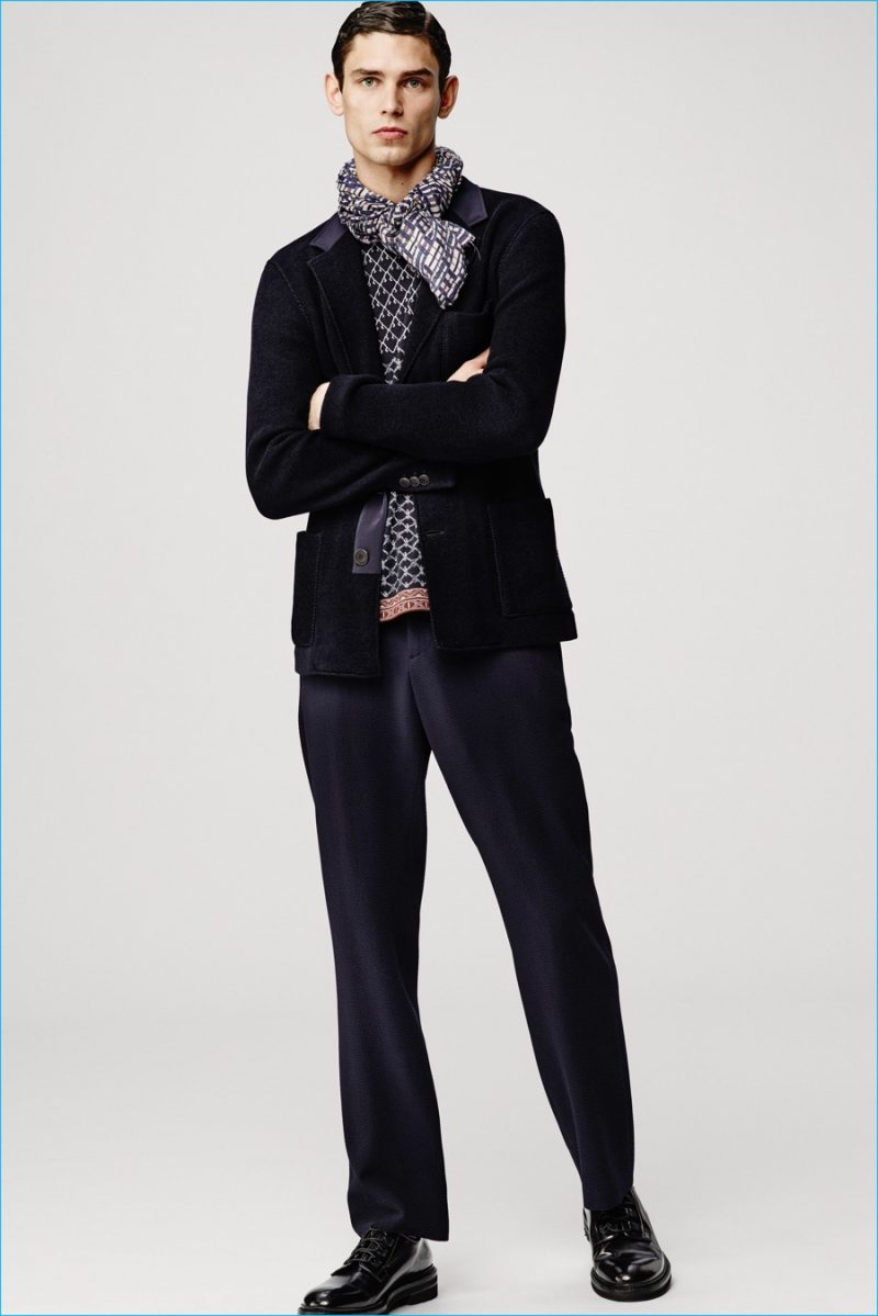 Arthur Gosse is a chic vision in a look from Giorgio Armani's fall-winter 2016 collection.