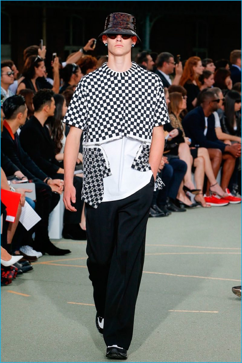 Givenchy gravitates towards a checkerboard print for spring-summer 2017.