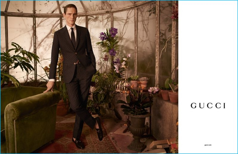 Roch Barbot models Gucci's Monaco jacquard suit fro the brand's fall-winter 2016 Tailoring campaign.