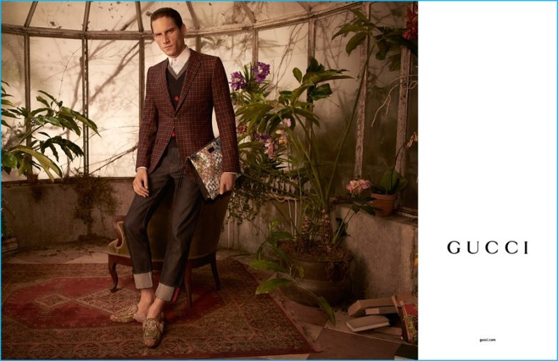 Model Roch Barbot is front and center in Gucci Tailoring's Heritage tartan suit for the label's fall-winter 2016 campaign.