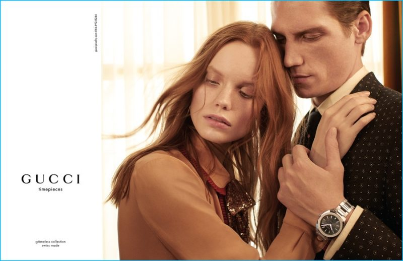 Roch Barbot embraces Polina Oganicheva for Gucci's fall-winter 2016 timepieces campaign.