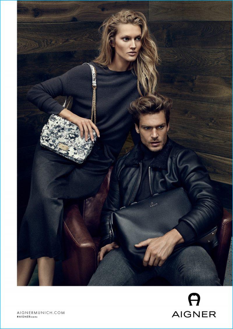 Jason Morgan and Toni Garrn front Aigner's fall-winter 2016 campaign.
