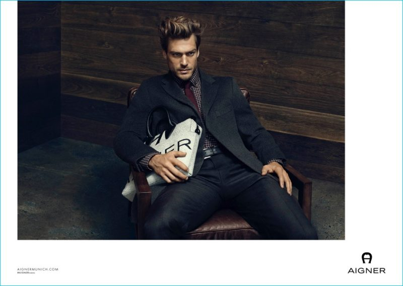 Jason Morgan is front and center for Aigner's fall-winter 2016 campaign.