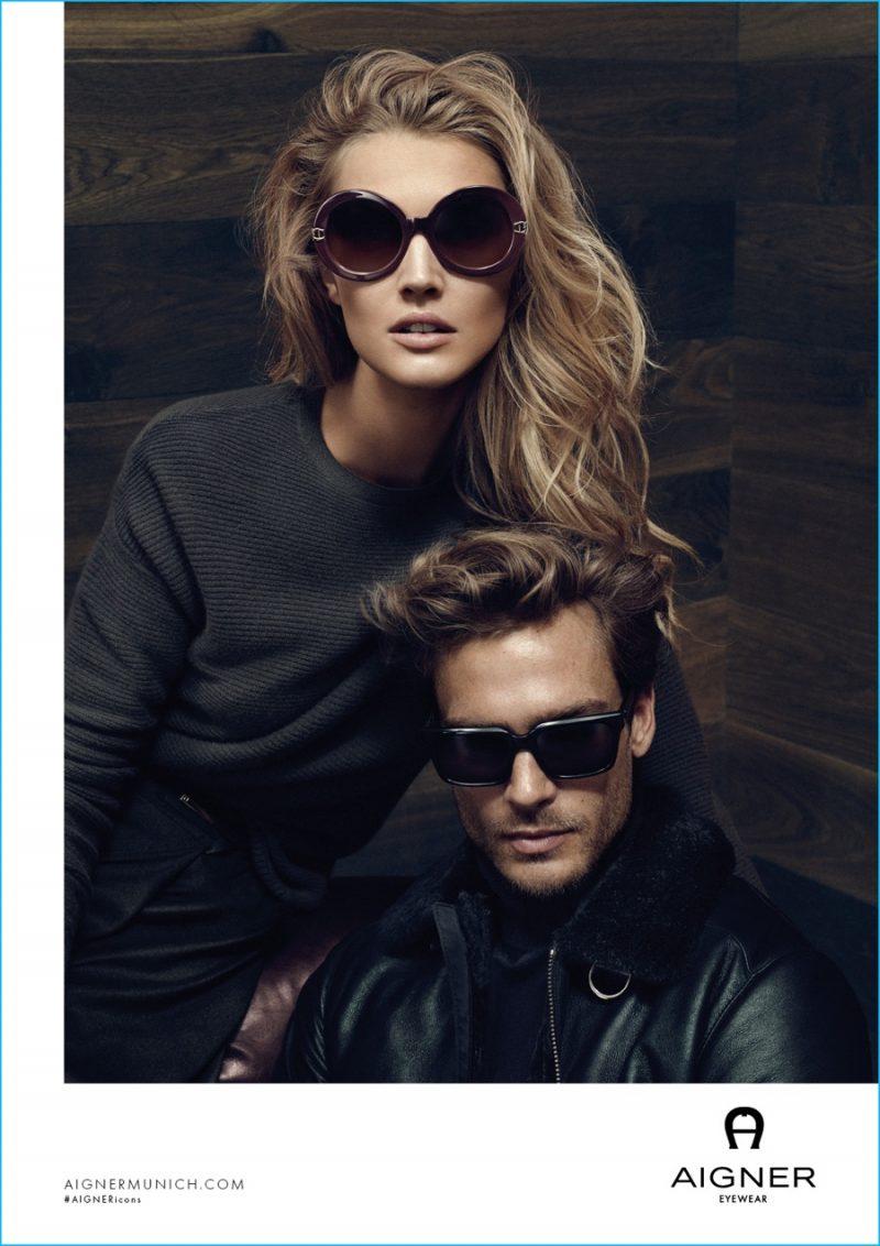 Jason Morgan and Toni Garrn don sunglasses for Aigner's fall-winter 2016 campaign.