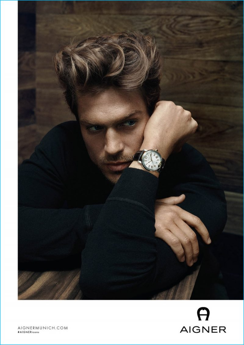 Jason Morgan fronts Aigner's fall-winter 2016 timepiece campaign.