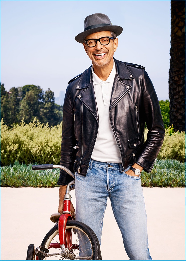 Jeff Goldblum is all smiles as he wears his signature Saint Laurent leather biker jacket for Parade magazine.