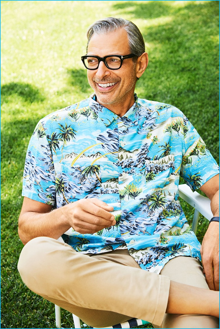 Jeff Goldblum photographed outdoors in Los Angeles, California for Parade magazine.