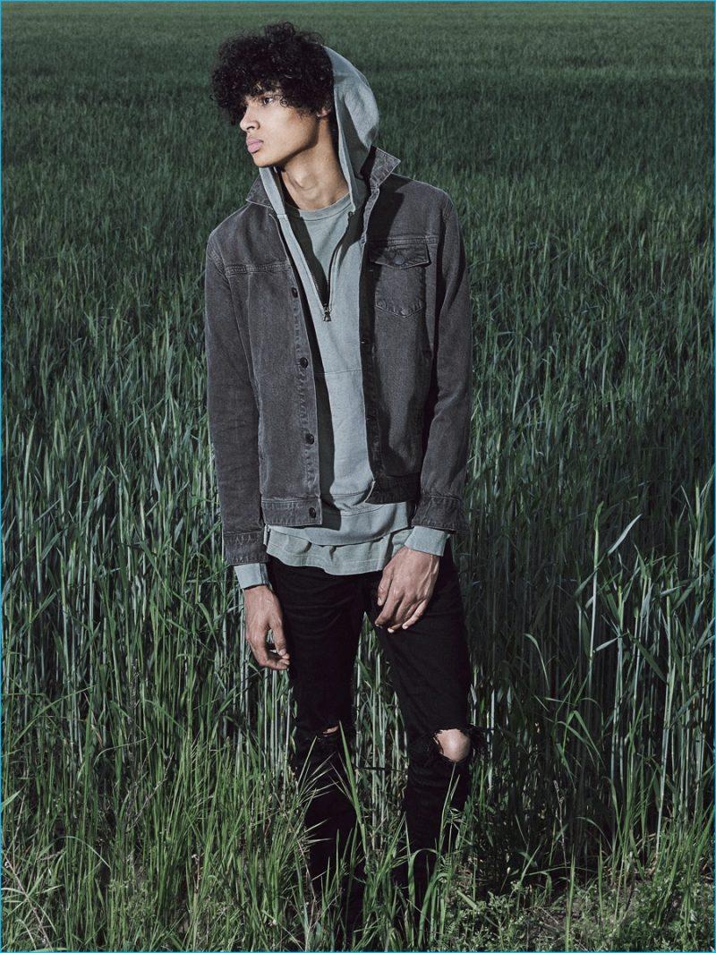 Hoodie & Denim Jacket Hero: John Elliott Denim Jacket, Mercer Half-Zip Hoodie and Ripped Denim Jeans