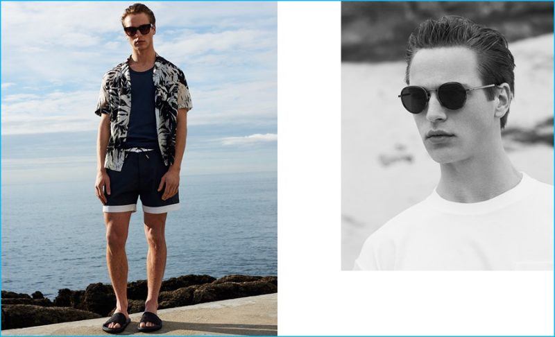 LEFT Jules Raynal wears short-sleeved palm leaf-print shirt and contrast-trim lace-up swim shorts, both by Saint Laurent. Scoop-neck cotton tank top by Lemaire. Camo-jacquard pool slides by Christopher Kane. Type 01 Bibi sunglasses by Sun Buddies. RIGHT Crew-neck cotton-jersey T-shirt by Fanmail. Round-frame sunglasses by Bottega Veneta.