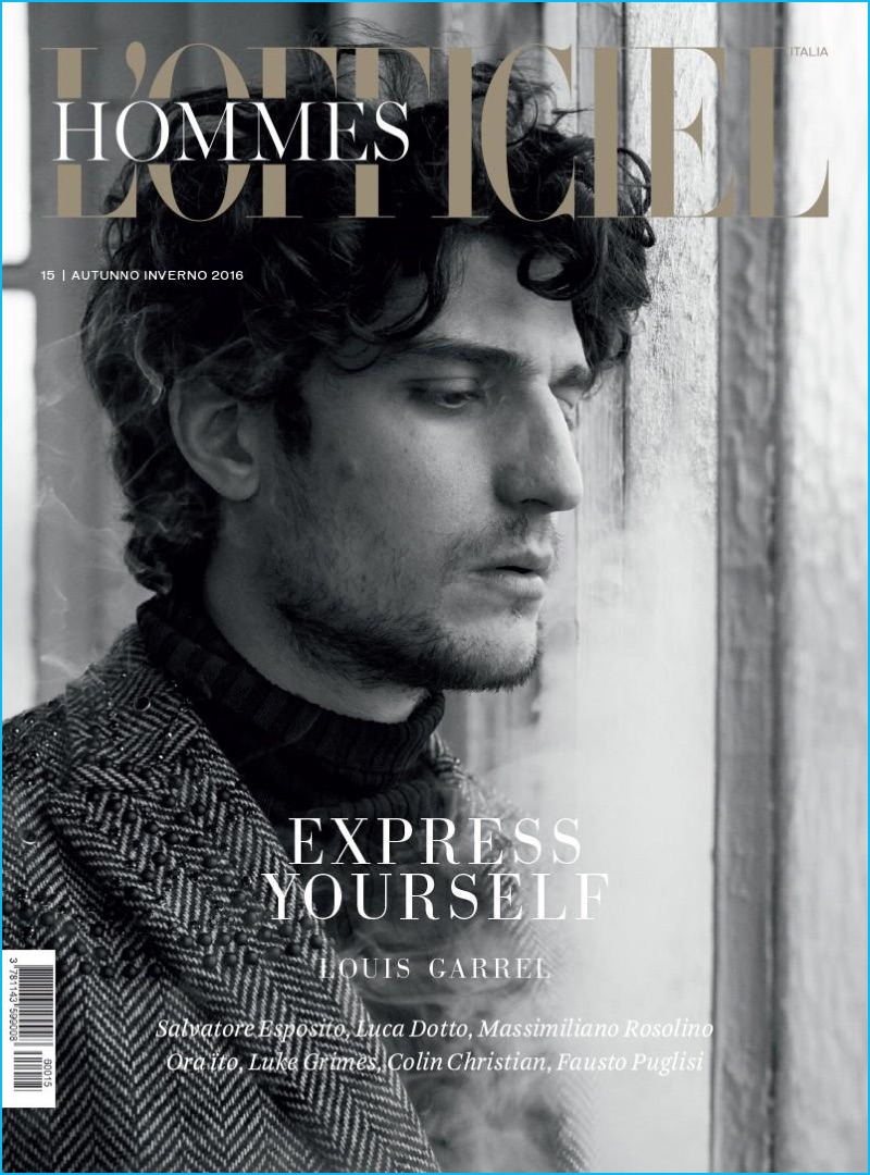Louis Garrel covers the fall-winter 2016 issue of L'Officiel Hommes Italia.