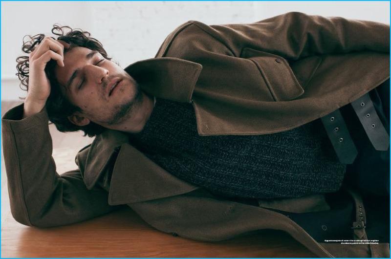 Louis Garrel styled by Emil Rebek in a fall coat for L'Officiel Hommes Italia.