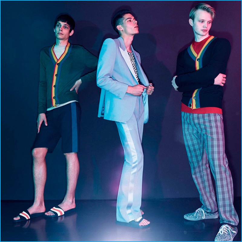 Marc Jacobs goes preppy with its spring-summer 2017 cardigans that are accented with rainbow hued stripes.