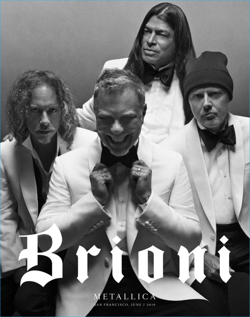 Metallica goes formal in white dinner jackets and black bow-ties for Brioni's new advertising campaign.