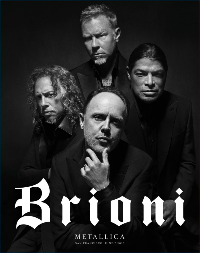 Metallica dons black suiting for Brioni's latest advertising campaign.