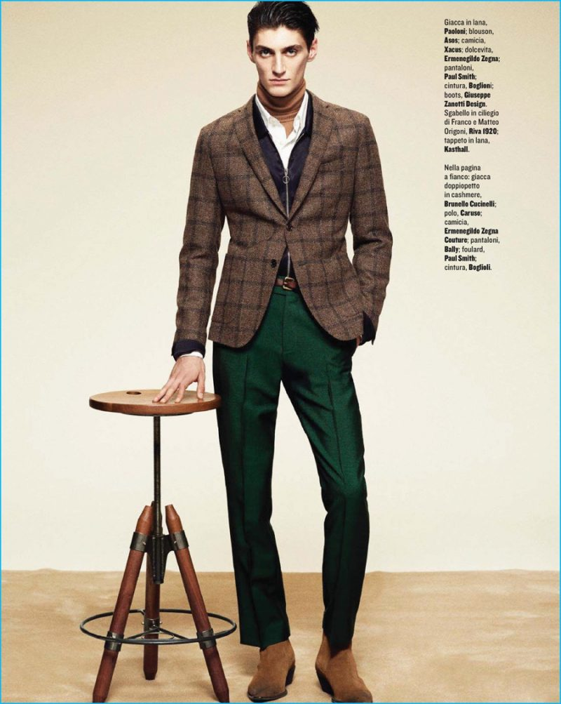 Mihai Bran sports autumanl hues in a check Paoloni jacket with Paul Smith pleated trousers.