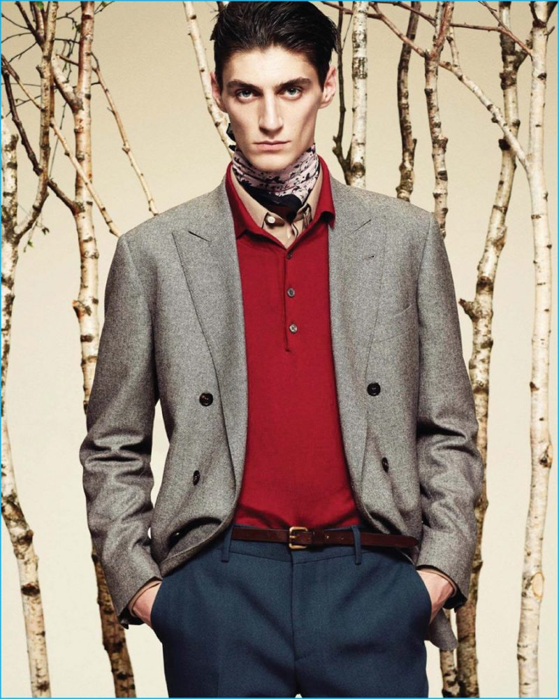 Mihai Brand mixes solid colors for a modern suiting look, featured in the pages of Style Italia.