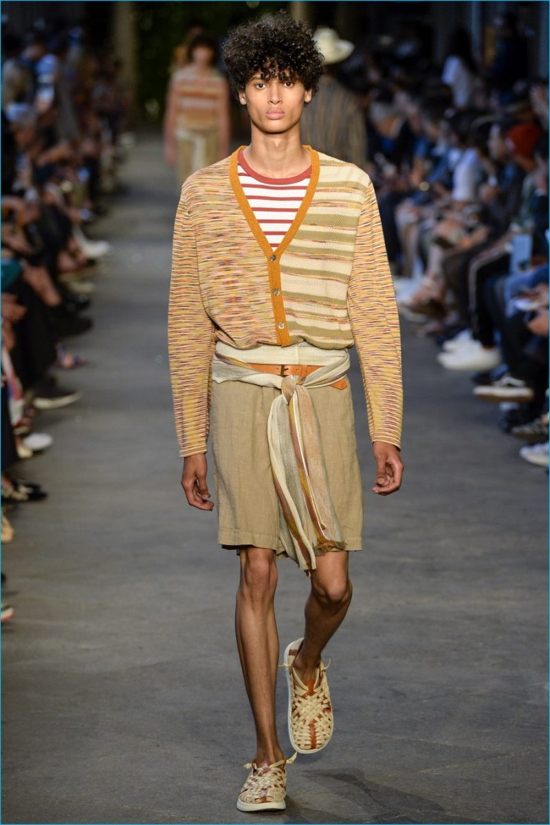 Missoni  plays it smart with soft colored hues and timeless separates such as the cardigan sweater.