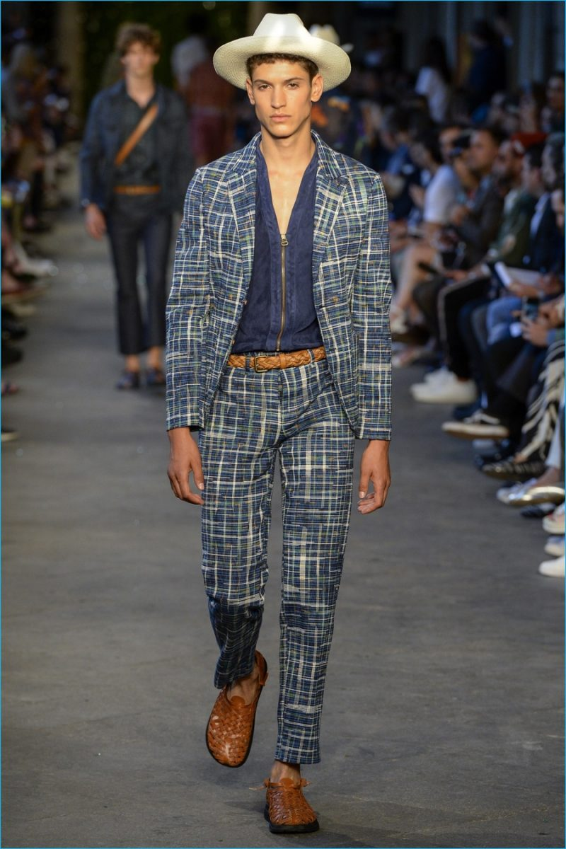 Missoni delivers a graphic grid print for spring-summer 2017 suiting.