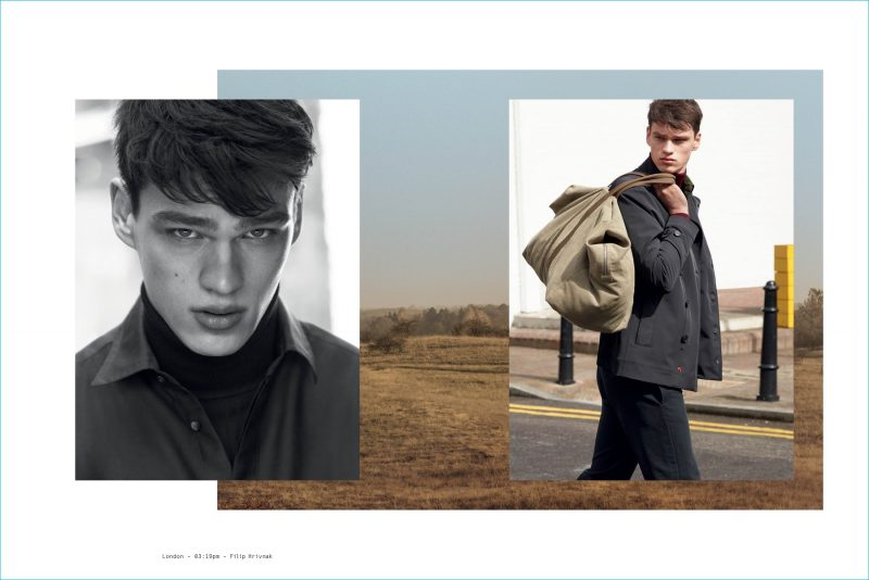 Filip Hrivnak photographed in London for Peuterey's fall-winter 2016 campaign.