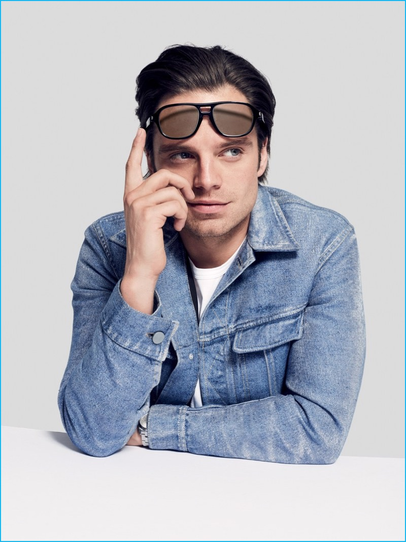 e2570a94e6cd Sebastian Stan rocks Brioni sunglasses with a denim jacket from Calvin  Klein Collection.