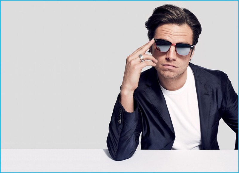 94f08757b2a8 Sebastian Stan is a cool vision in Thom Browne sunglasses