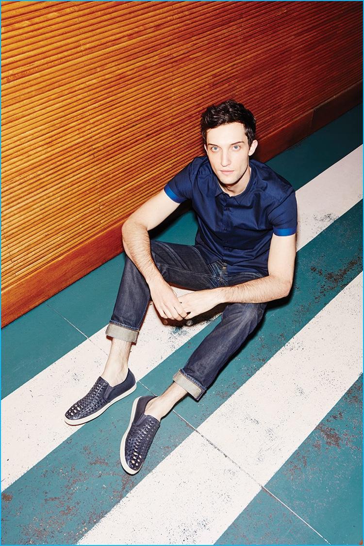 Model Max Von Isser sports slip-on sneakers from Steve Madden.