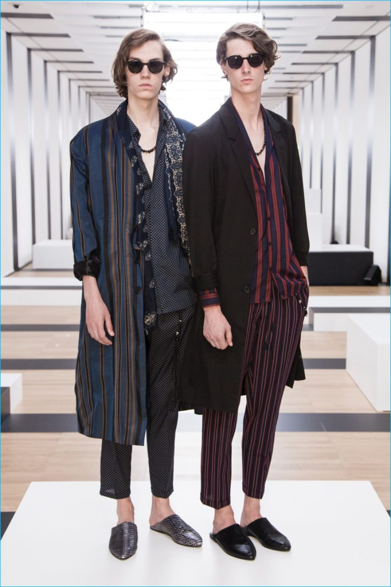Vertical stripes are juxtaposed with relaxed proportions and micro polka dots for The Kooples' spring-summer 2017 collection.