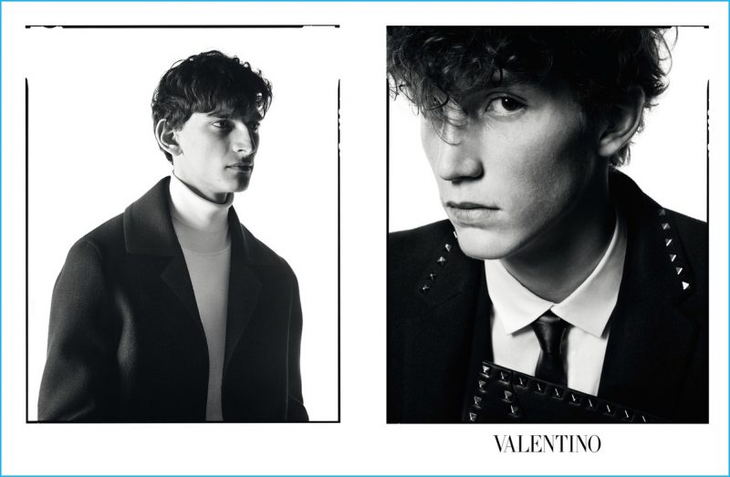 Thibaud Charon and Harold Vente star in Valentino's fall-winter 2016 advertising campaign.