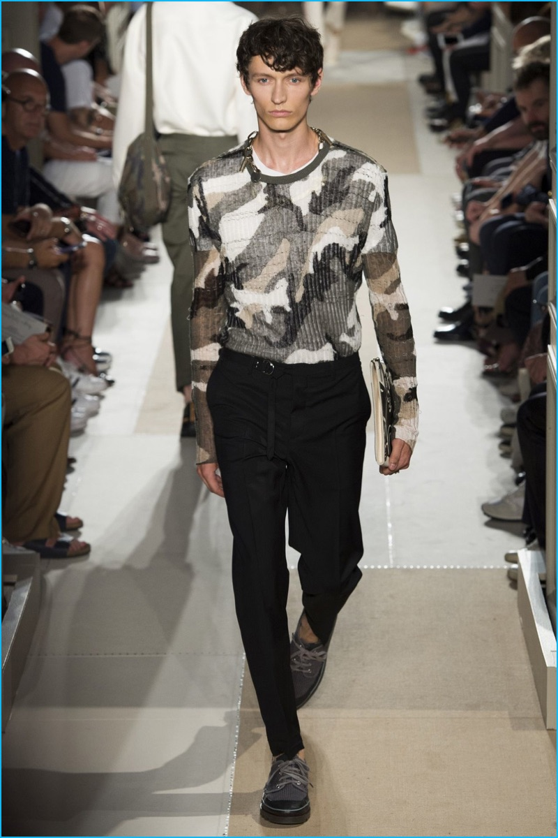 Valentino does sheer sweaters for spring-summer 2017, applying a stylish camouflage.
