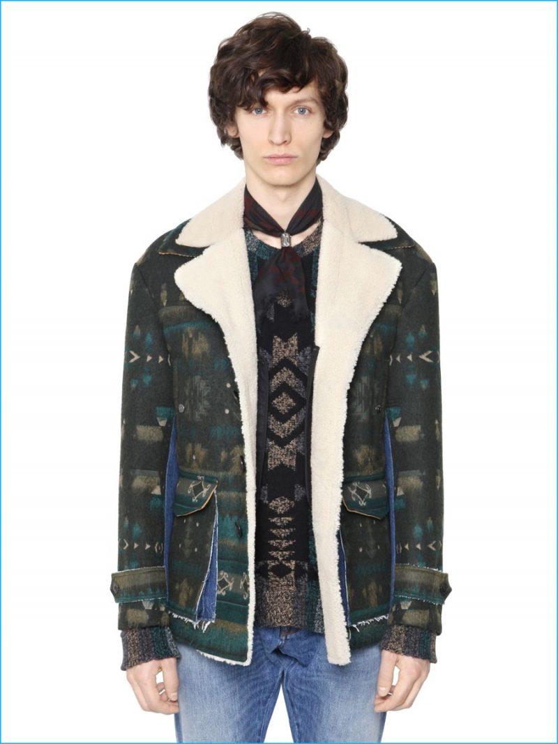 Valentino Patterned Shearling Jacket