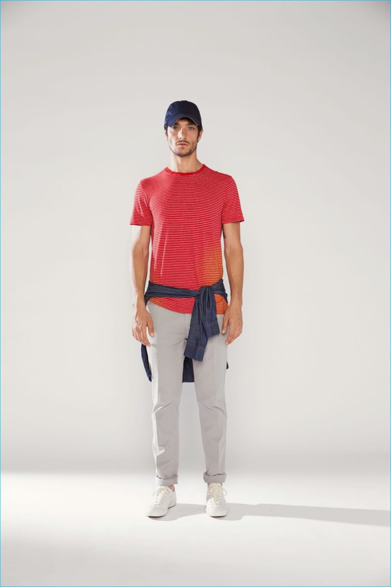 Woolrich John Rich & Bros. delivers relaxed style with a timeless striped tee and chinos.
