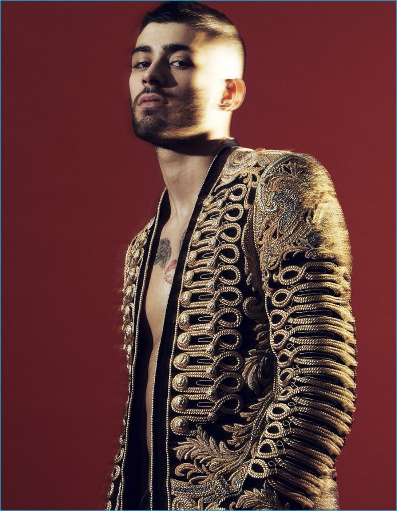 Leather jacket photoshoot - Zayn Malik Is Front And Center In An Embellished Jacket From Parisian Fashion House Balmain