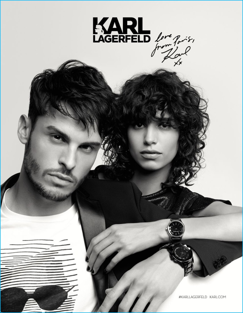 Baptiste Giabiconi joins Mica Arganaraz for Karl Lagerfeld's fall-winter 2016 campaign.