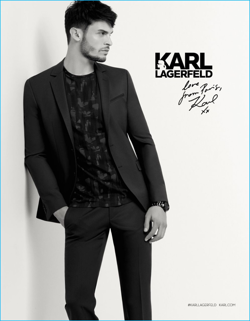Baptiste Giabiconi is front and center for Karl Lagerfeld's fall-winter 2016 campaign.