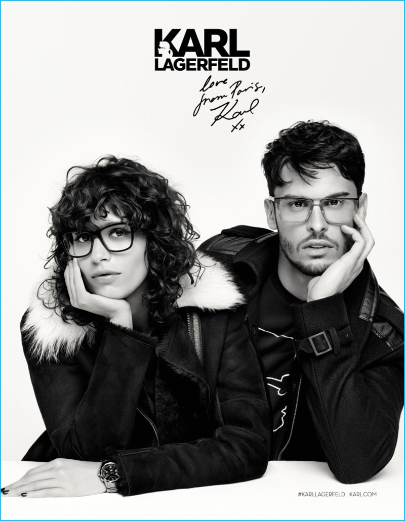 Mica Arganaraz and Baptiste Giabiconi charm in Karl Lagerfeld eyewear for the designer's fall-winter 2016 campaign.