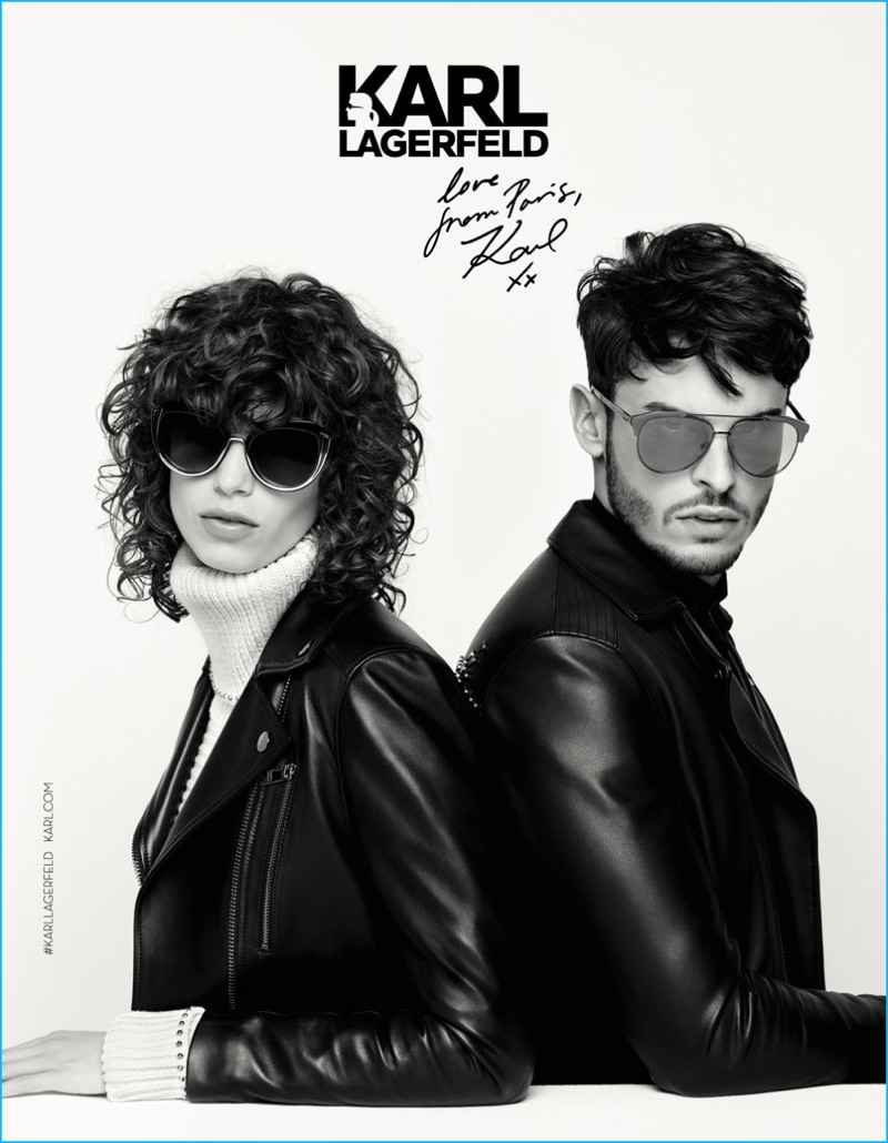 Mica Arganaraz and Baptiste Giabiconi rock sunglasses for Karl Lagerfeld's fall-winter 2016 campaign.