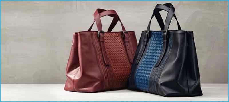 Bottega Veneta's leather totes feature the brand's signature woven details.