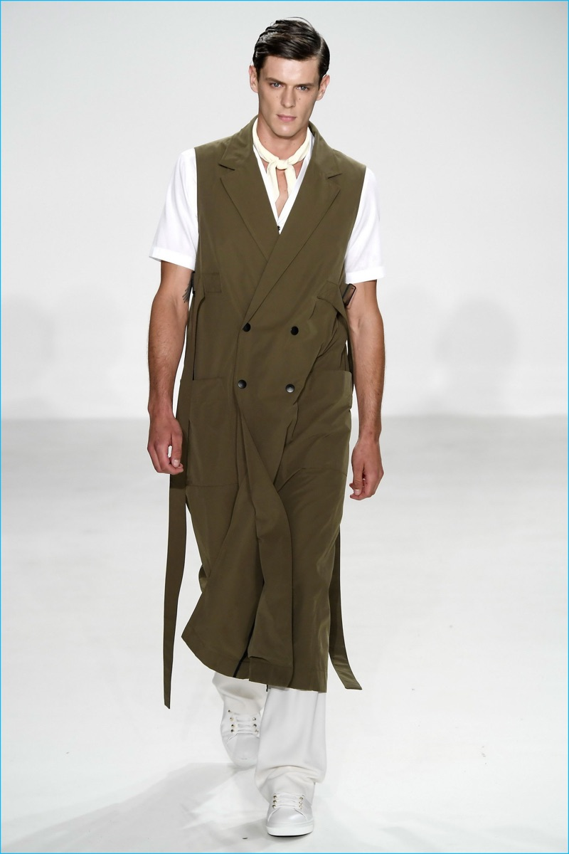 Carlos Campos turned out a tailored, double-breasted sleeveless coat for spring-summer 2017.
