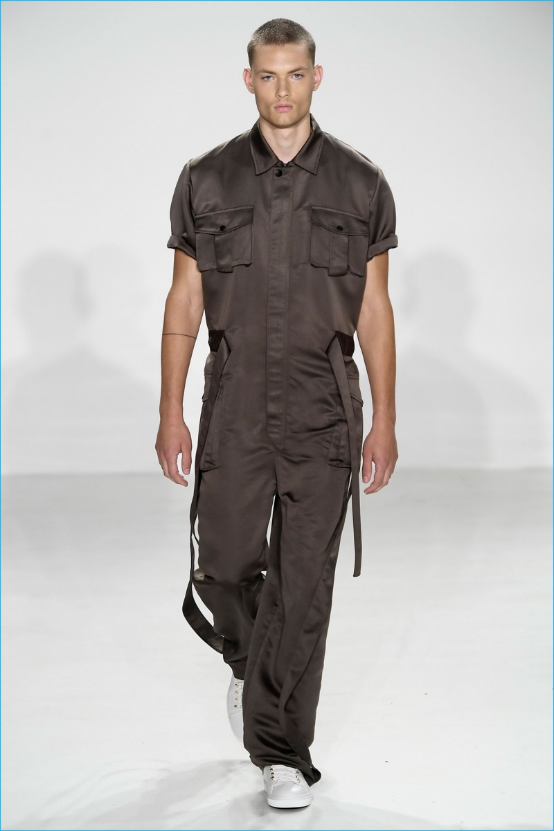 Carlos Campos steals a moment for the military-inspired jumpsuit for spring-summer 2017.