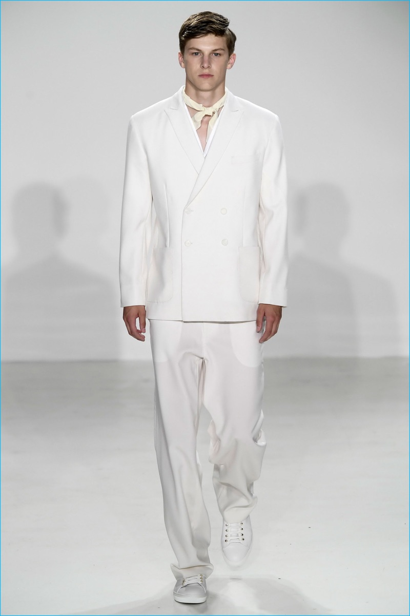 Carlos Campos does summer tailoring in serene white for spring-summer 2017.