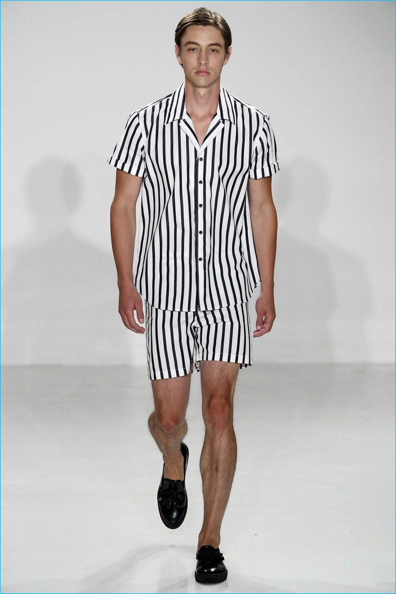 The coordinated ensemble shines as Carlos Campos gravitates towards stripes for spring-summer 2017.