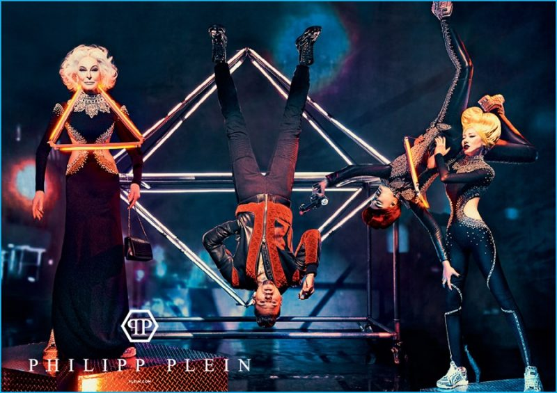 Chris Brown hangs upside down for Philipp Plein's fall-winter 2016 campaign.