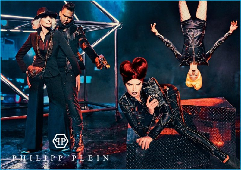Chris Brown plays the bad guy, pointing a gun for Philipp Plein's fall-winter 2016 campaign.